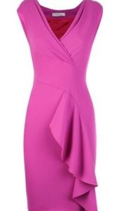 Versace hot pink midi dress with ruffle.  NWT.